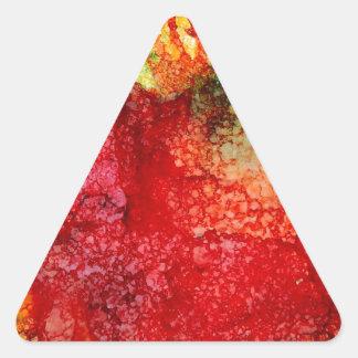Flor roja loca pegatina triangular