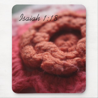 Flor roja Mousepad del ganchillo del 1:18 de