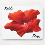 Flor roja Mousepad del hibisco Alfombrilla De Ratón