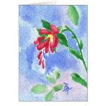 Flor roja Notecard del amor Tarjeta Pequeña