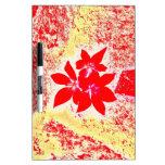 flor roja pizarras blancas