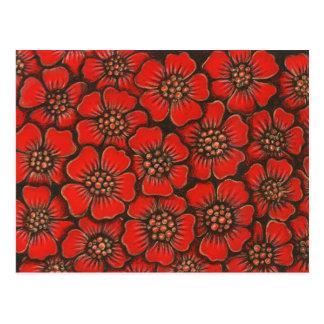flor roja postal