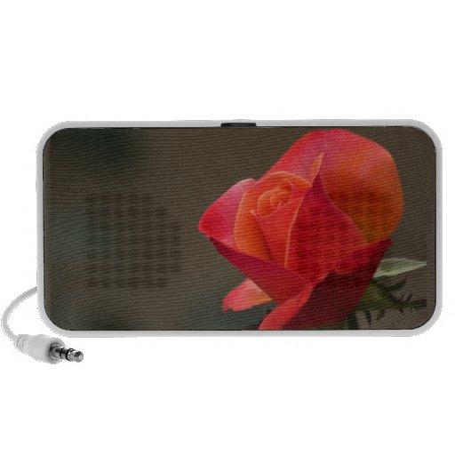 Flor roja, roja altavoces de viajar