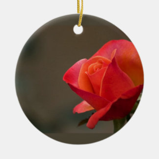 Flor roja, roja adorno redondo de cerámica
