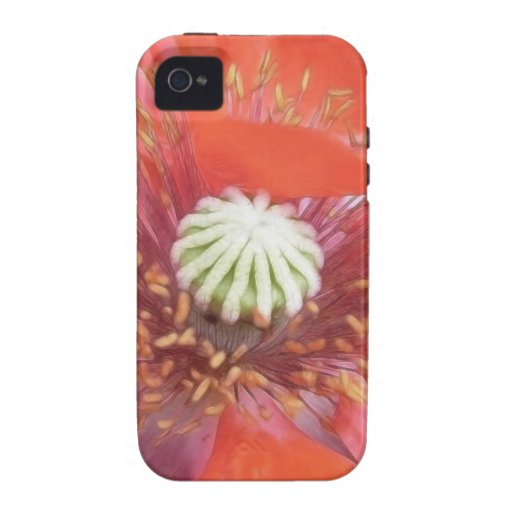 Flor roja romántica de la amapola carcasa Case-Mate para iPhone 4