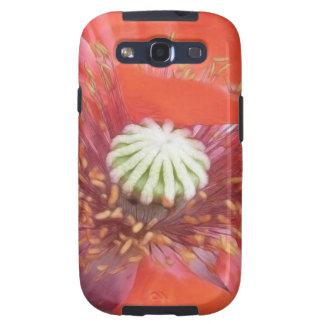 Flor roja romántica de la amapola galaxy s3 cárcasas