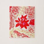 flor roja rompecabeza con fotos