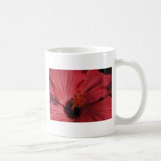Flor roja taza básica blanca
