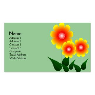 Flor roja y amarilla tarjetas de visita