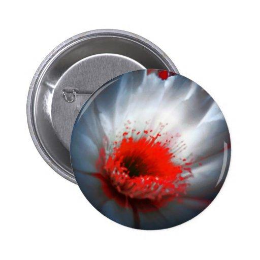 Flor roja y blanca pin redondo de 2 pulgadas