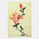 Flor rojo con los brotes 1840 toalla de cocina
