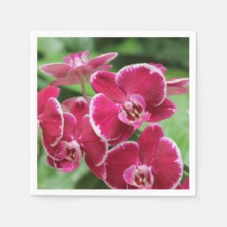 Flor rojo de la orquídea servilletas de papel