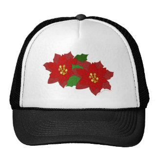 Flor rojo del navidad de la flor del Poinsettia Gorra