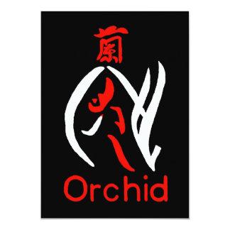 """Flor, rojo y blanco de la orquídea de Mahjong en Invitación 5"""" X 7"""""""