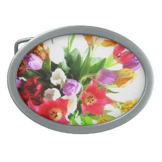 Flor romántica de los tulipanes hebillas de cinturon