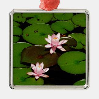 flor rosa clara del lirio de agua del loto ornaments para arbol de navidad