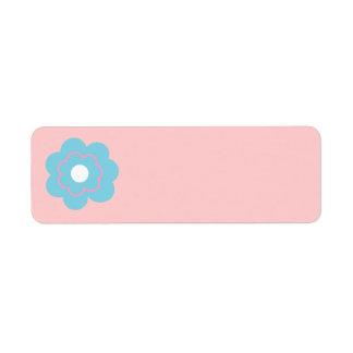 Flor rosada azul etiqueta de remitente