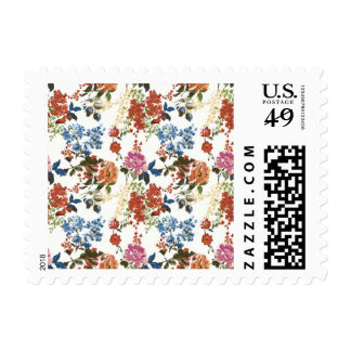 Flor rosada azul roja del estampado de flores de timbres postales