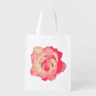 Flor rosada, bolso de ultramarinos reciclable bolsas de la compra