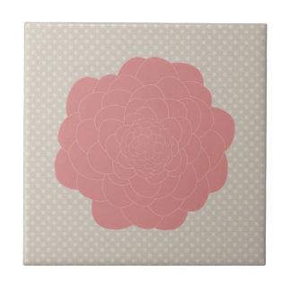 Flor rosada bonita del Doodle Azulejo Cuadrado Pequeño