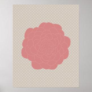 Flor rosada bonita del Doodle Posters