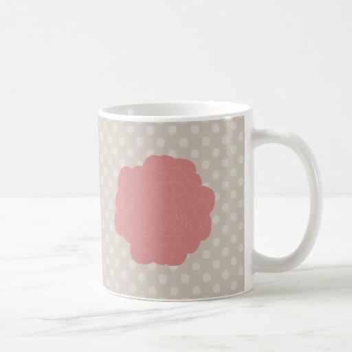Flor rosada bonita del Doodle Tazas De Café