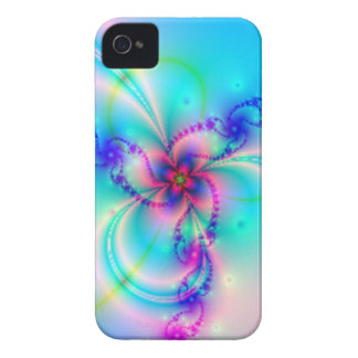 Flor rosada bonita del fractal iPhone 4 Case-Mate carcasas