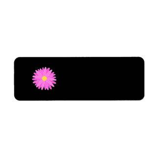 Flor rosada brillante etiquetas de remite