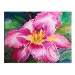Flor rosada brillante grande postal
