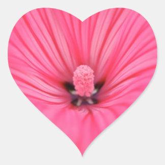 Flor rosada brillante pegatina en forma de corazón