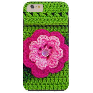 Flor rosada con el ganchillo verde claro del botón funda resistente iPhone 6 plus