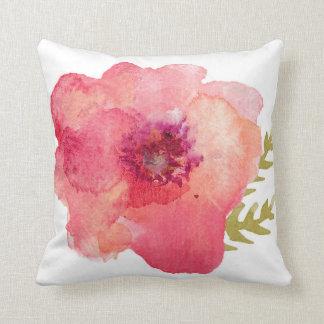 Flor rosada de la acuarela cojín