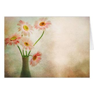 Flor rosada de la acuarela de las margaritas del tarjeta pequeña