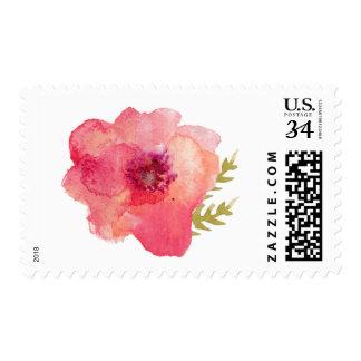 Flor rosada de la acuarela estampilla