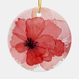 Flor rosada de la amapola de la acuarela bonita adorno navideño redondo de cerámica