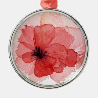 Flor rosada de la amapola de la acuarela bonita adorno navideño redondo de metal