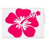 flor rosada de la hawaiana tarjetas