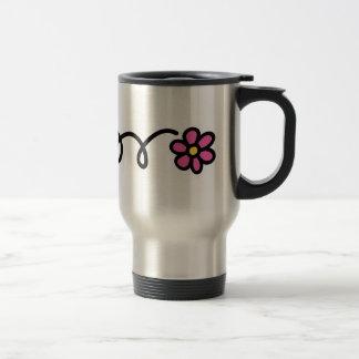 Flor rosada de la margarita taza de viaje de acero inoxidable
