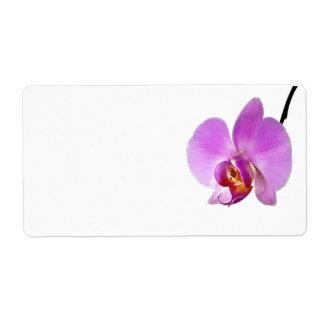 Flor rosada de la orquídea etiqueta de envío