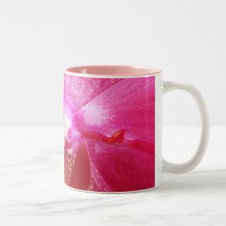 Flor rosada de la orquídea taza de café de dos colores