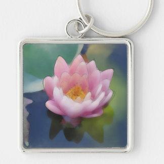 Flor rosada de Lotus con la lona envuelta reflexió Llavero Cuadrado Plateado