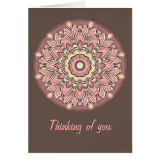 Flor rosada del amor - mandala tarjetón