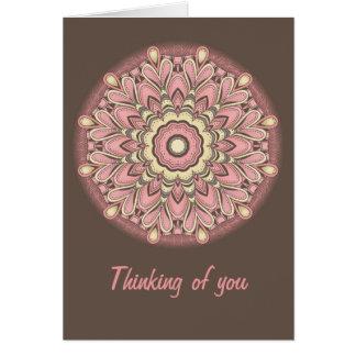 Flor rosada del amor - mandala tarjeta de felicitación