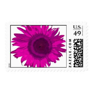 Flor rosada del arte pop sellos