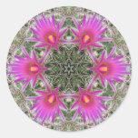 Flor rosada del cactus pegatina redonda