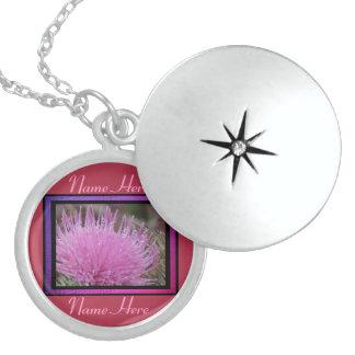 Flor rosada del cardo collares personalizados