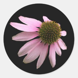 Flor rosada del cono pegatina redonda
