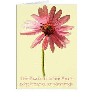 Flor rosada del cono si esa flor comienza a tarjeta de felicitación