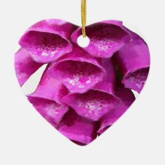 Flor rosada del Foxglove Adorno De Cerámica En Forma De Corazón