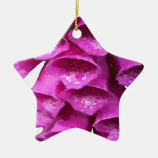 Flor rosada del Foxglove Adorno De Cerámica En Forma De Estrella
